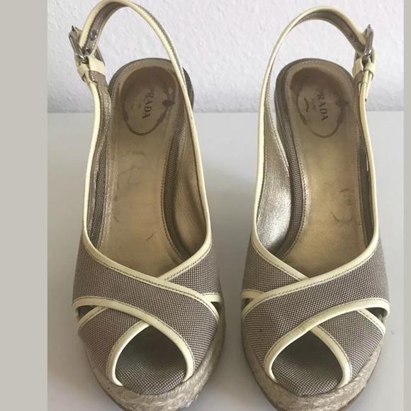 Prada Canvas scarpe   Canvas Prada Platform Sandalo Size 385   Poshmark ff4d2d